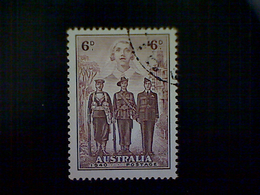 Australia, Scott #187, Used (o), 1940, World War II, Nurse, Sailor, Soldier, Airman, 6d, Chocolate - 1937-52 George VI