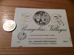 Etiquette Vin «BEAUJOLAIS VILLAGES - GFA DOMAINE FUMET-DUTREVE - Romanèche-Thorins (71)» - Beaujolais
