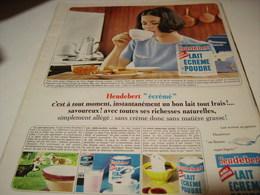 ANCIENNE  PUBLICITE LAIT ECREME  HEUDEBERT 1965 - Affiches