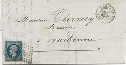 LETTRE AFFRANCHIE N° 14 BLEU FONCE -OBLITERE LOSANGE 612  PC -CAD CARCASSONNE  - 1857 - Postmark Collection (Covers)