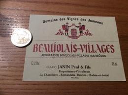 Etiquette Vin «BEAUJOLAIS VILLAGES - Domaine Des Vignes Des Jumeaux - JANIN Paul & Fils - Romanèche-Thorins (71)» - Beaujolais