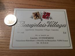 Etiquette Vin «BEAUJOLAIS VILLAGES - Lucien CONDEMINE - Pruzilly-en-Beaujolais (71)» - Beaujolais
