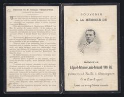 DP SOUVENIR A LA MEMOIRE DE MR. VAN RIE ° 1886 + QUAREGNON 1906 BRUNIN PRESIDENT DU COMITE DES FÊTES DU RIVAGE VERCOUTER - Images Religieuses