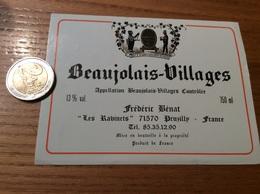 Etiquette Vin «BEAUJOLAIS VILLAGES - Frédéric Bénat - Pruzilly-en-Beaujolais (71)» - Beaujolais