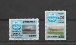 GUATEMALA 1987, ICAO, INTERNATIONAL AVIATION ORGANIZATION, AIRLINES JET, 2 VALUES, MICHEL 1277/78, YVERT 810/11 C809/10 - Guatemala