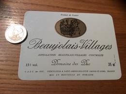 Etiquette Vin «BEAUJOLAIS VILLAGES -DOMAINE DES DUC - SAINT-AMOUR-BELLEVUE (71)» - Beaujolais
