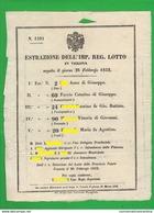 Verona 1852 Volantino Estrazioni Lotteria Lotterie Lottery Loterie Lotería - Biglietti Della Lotteria