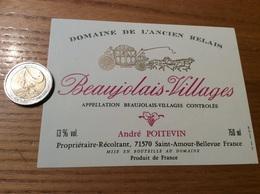 Etiquette Vin «BEAUJOLAIS VILLAGES -DOMAINE DE L'ANCIEN RELAIS-A POITEVIN- SAINT-AMOUR-BELLEVUE (71)» (Cheval, Calèche) - Beaujolais