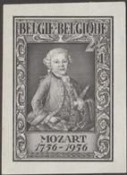 Belgique 1956 Y&T 988. Épreuve D'état. Wolfgang Amadeus Mozart Enfant, Franc-maçonnerie - Musique
