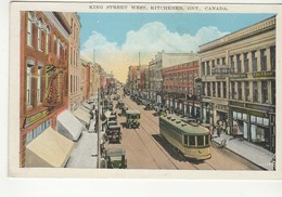 KITCHENER, Ontario, Canada, King Street West & Stores, Old WB Postcard, Waterloo County - Kitchener