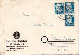 """(DDR-SZ) All. Besetzung Sowjetische Zone """"Geschäftsbrief"""" MeF 3xMi 218, R.Virchow  TSt 28.8.1949 LEIPZIG C2 - Zone Soviétique"""
