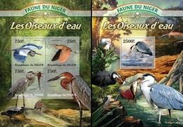 Niger 2013, Animals, Water Birds, Fish, 4val In BF +BF - Niger (1960-...)