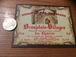 Etiquette Vin «BEAUJOLAIS VILLAGES -DOMAINE DES DARREZES-Les Chatelets-J JANIN-SAINT-AMOUR-BELLEVUE (71)» - Beaujolais
