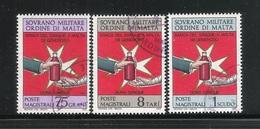 S.M.O.M. SOVRANO MILITARE ORDINE DI MALTA - 1975: 3 Valori Obliterati, Emissione BANCA DEL SANGUE-Ottime Condiziioni. - Sovrano Militare Ordine Di Malta
