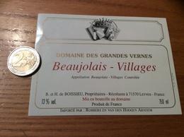 Etiquette Vin «BEAUJOLAIS VILLAGES - DOMAINE DES GRANDES VERNES - B Et H De BOISSIEU - LEYNES (71)» Export PAYS-BAS - Beaujolais