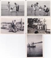 Lots De 5 Photos Personnes ,plage Formats 8,7x6 - Personnes Anonymes