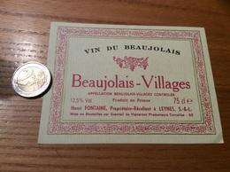 Etiquette Vin «BEAUJOLAIS VILLAGES - Henri FONTAINE - LEYNES (71)» - Beaujolais