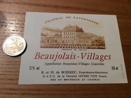 Etiquette Vin «BEAUJOLAIS VILLAGES - CHATEAU DE LAVERNETTE - B Et H De BOISSIEU - LEYNES (71)» - Beaujolais