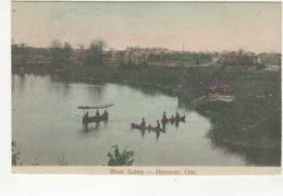 HANOVER, Ontario, Canada, Town & River Scene, Pre-1920 Postcard, Grey County - Ontario