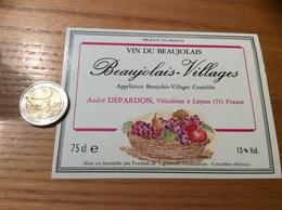 Etiquette Vin «BEAUJOLAIS VILLAGES - André DEPARDON - LEYNES (71)» (fruit, Illustration CARINNE B) - Beaujolais