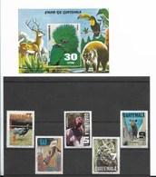 GUATEMALA 1979, FAUNA, ANIMALS, BIRDS, 5 VALUES + SOUVENIR SHEET MICHEL 1124-28 + BL30, SC C670-74A - Guatemala