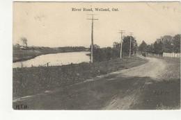 WELLAND, Ontario, Canada,  River Road & Steamship In Canal, 1907 Postcard, Welland County - Ontario