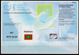 MALDIVES  Is41A   MVR 35,00  20180515  AA  International Reply Coupon Reponse Antwortschein IAS IRC Hologram Mint ** - Malediven (1965-...)