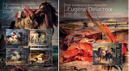 Niger 2013, Art, Delacroix, Horses, 4val In BF+BF - Niger (1960-...)