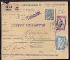 Croatia SHS, Parcel Card, Mixed Franking, Vinkovci, Januar 1919 - Cartas