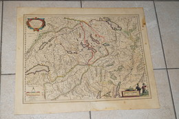Carte Mercator,Original Antique Coloration Gravure Sur Cuivre,Helvetia,56 Cm./46 Cm,très Bel état De Collection - Cartes Géographiques