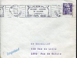 40514 France, Cover Circuled 1952 Nice,  Printemps Musical, Mozart, Haendel, De Lalande, - Musique