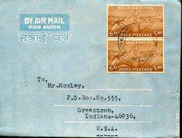 40515 India, Circuled Cover 1967 With 2 Stamps Malaria Control - Medicine