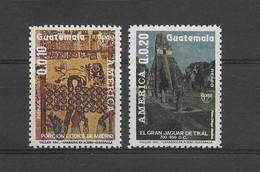 GUATEMALA 1990, UPAEP 89, ARCHEOLOGY, MAYA & TICAL ART, 2 VALUES, COMPLETE, MICHEL 1302/3, YVERT 829/30, SCOTT C834/5 - Guatemala