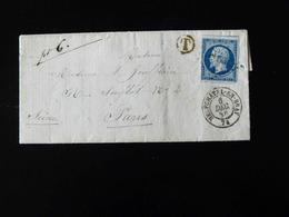 LETTRE DE NEUFCHATEL EN BRAY POUR PARIS  -  1856  - - Storia Postale