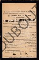 Doodsprentje Pater/Frère Fransiscus Xaverius Peeters °1873 Turnhout †1898 Turnhout / Diaken Te Mechelen  (F156) - Décès