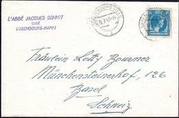 1947 Lettre Luxembourg Vers Basel, L'Abbé Jacques Schmit Curé Luxembourg-Hamm, Michel: 366  3 1/2F - Luxembourg