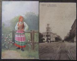 Pologne Vers France - 2 Cartes Postales Dont Varsovie, Rue Marszalkowska Et Illustrateur, Femme En Costume - 1921 / 1922 - Pologne