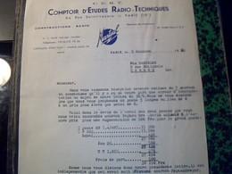 Facture COMPTOIS D'ETUDES RADIO TECHNIQUES MARTIAL CNSTRUCTEUR Tsf Radios ...  Paris Rue St Lazare Annee 1950 - Altri