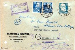 """(DDR-SZ) All. Besetzung Sowjetische Zone """"Geschäftsbrief"""" MiF 2xMi 216,1xMi 218  TSt 10.8.1949 DRESDEN N - Zone Soviétique"""