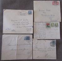 Danemark Vers France - 4 Enveloppes + 1 Carte Postale Avec Timbres YT N°37, 288, 315, 317, 335 (UPU), 1902 à 1950 - Danemark