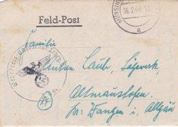 German Feldpost WW2: Wehr Kreis Unterführer Lehrgang V P/m Münsingen 16.2.1944 - Letter Inside (DD24-51) - Militaria