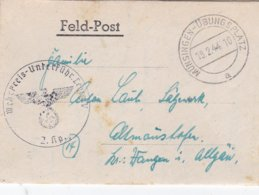 German Feldpost WW2: Wehr Kreis Unterführer Lehrgang V P/m Münsingen-Übungsplatz 19.2.1944 - Letter Inside - Militaria