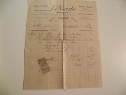 LIMOGES, Facture, J NOCODIE, Location Voitures ,  1896 - Cars