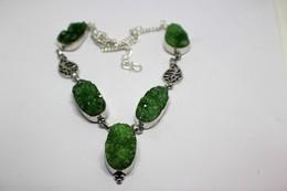 Collana Di Agata Druzy Colore Verde  Misura 49 Cm - Colliers/Chaînes