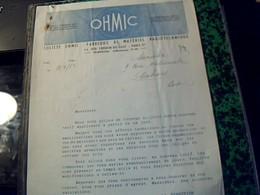 Facture Lettre OHMC  Fabrique De Materiel  Radiotechnique Paris Rue Crespin Du Gast Annree 1950 - Altri