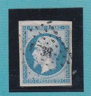 N°14 Af Bleu Laiteux    PC  1738   LISIEUX   /  CALVADOS  + VARIETE     REF ACDIV - 1853-1860 Napoleon III