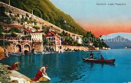 43198485 Cannero_Riviera_Lago_Maggiore Waschfrauen Fischerboot Cannero_Riviera - Non Classificati