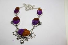 Collana Di Agata Druzy Arancione Viola  Misura 56 Cm - Colliers/Chaînes