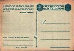 71218) INTERO POSTALE IN FRANCHIGIA MILITARE CON MOTTO-NUOVA - Entiers Postaux