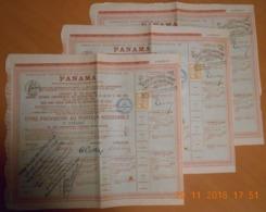 """LOT De 3 TITRES PROVISOIRE DE 1 OBLIGATION """" PANAMA """" Du 26 Juin 1888 - Navy"""